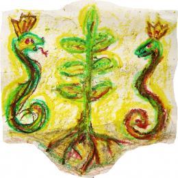 Strom života a hady ako strážci zemskej sily
